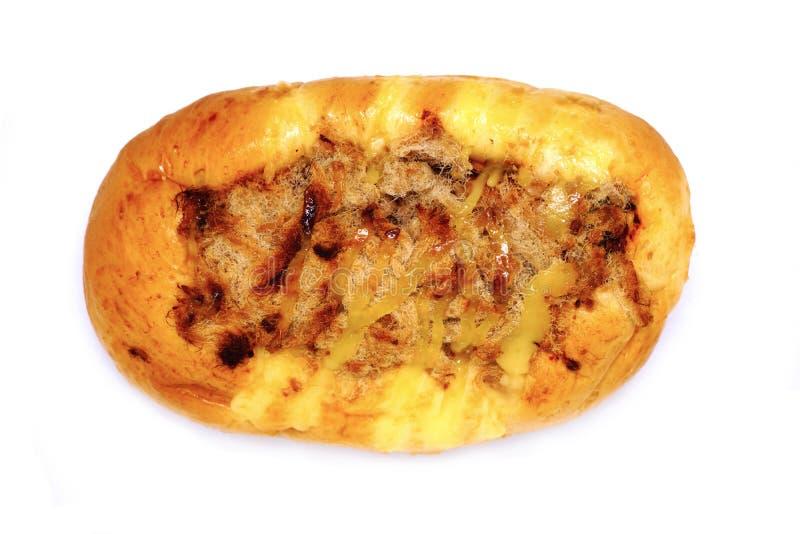 Panieren Sie Fülle getrocknetes zerrissenes Schweinefleisch- und Salzeigelb stockfoto