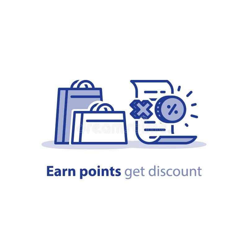 Panieres con el control y la prima, puntos de la recompensa, programa de la lealtad, concepto de la venta stock de ilustración
