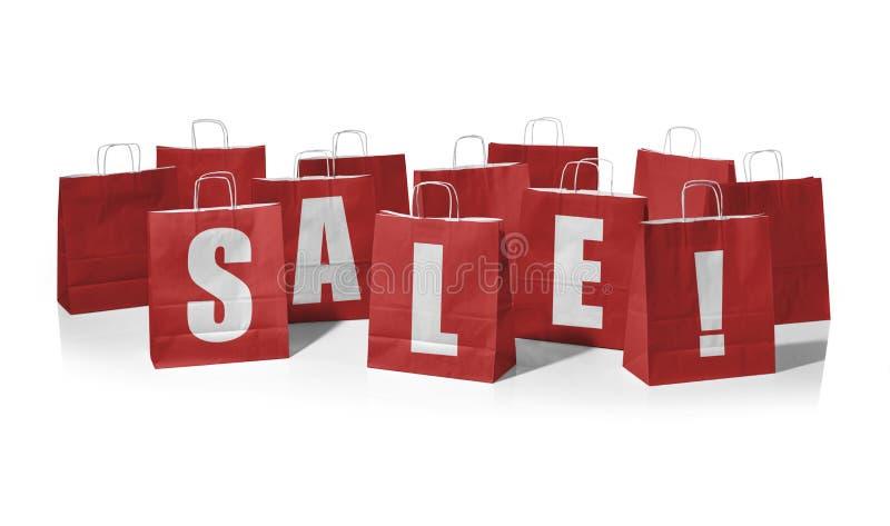 ¡Panieres rojos que forman la venta de la palabra! foto de archivo