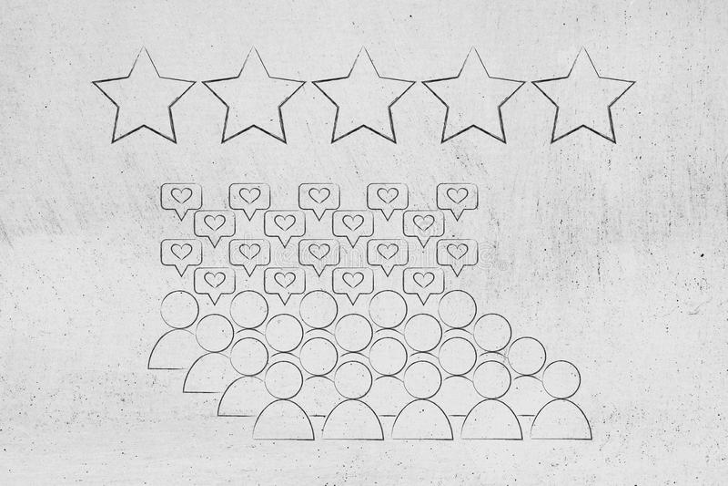 Paniers avec l'estimation cinq étoiles au-dessus de eux illustration libre de droits