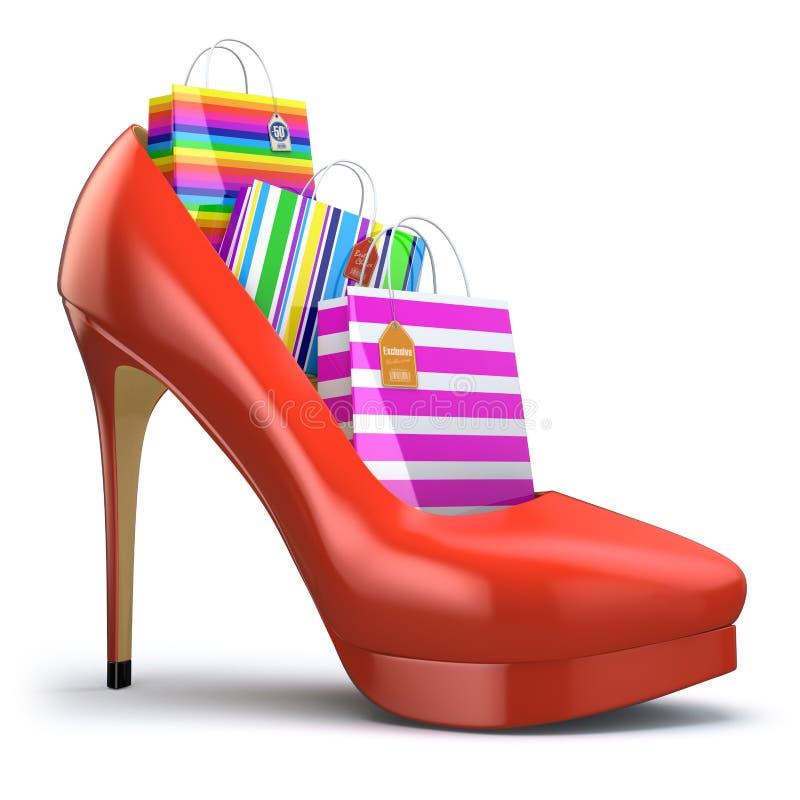 Paniers chez des chaussures de talon haut des femmes Concept du consommationisme illustration de vecteur