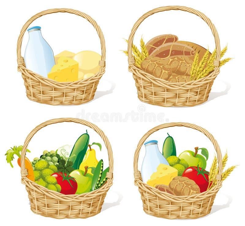 Paniers de nourriture   illustration de vecteur