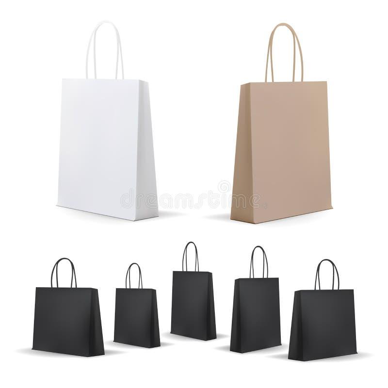 Paniers vides réglés Blanc, Brown, noir, carton Placez pour faire de la publicité et stigmatiser Paquet de maquette illustration libre de droits