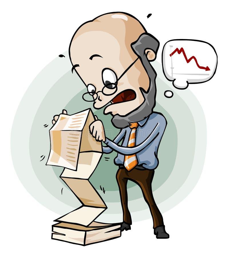 Panik auf Verkaufs-Report. stock abbildung