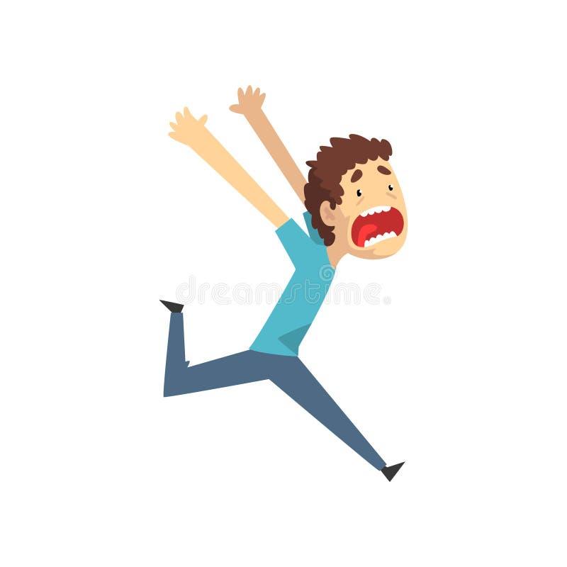 Panikujący młodego człowieka bieg i krzyczeć desperacko, emocjonalny facet przestraszony coś wektorowa ilustracja na bielu ilustracja wektor