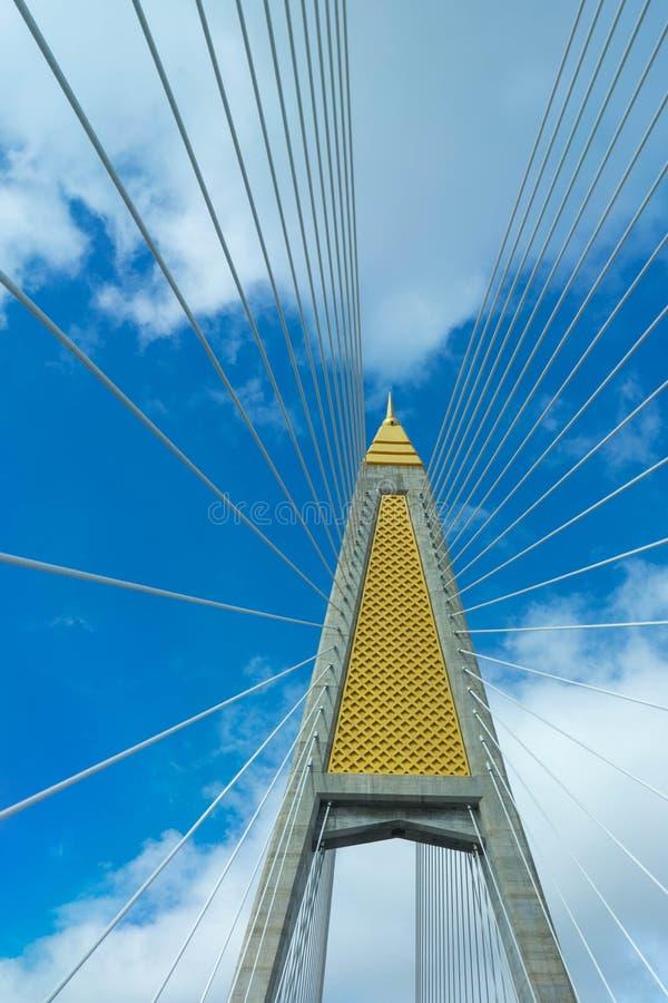 paning由蓝天决定的吊桥柱子和吊索, Ba 免版税库存照片
