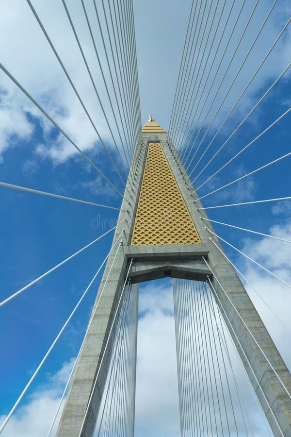 paning由蓝天决定的吊桥柱子和吊索 库存照片