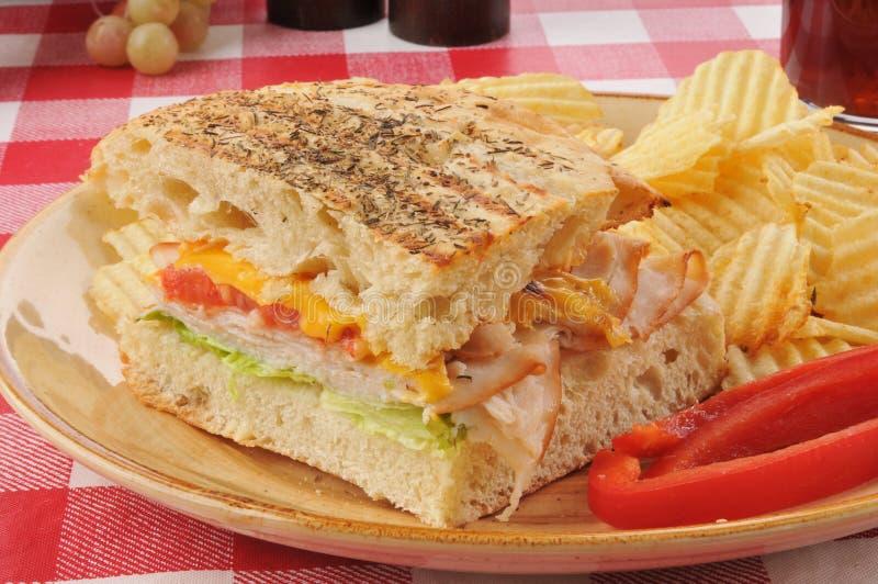 Panini ζαμπόν και τυριών στοκ εικόνα με δικαίωμα ελεύθερης χρήσης