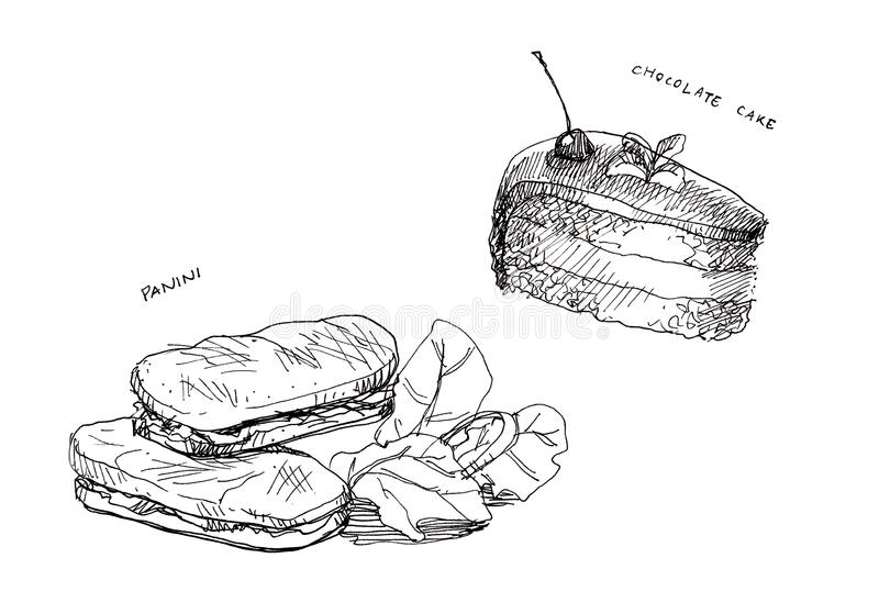 Line Art Food : Panini and cake chocolate line drawing stock illustration