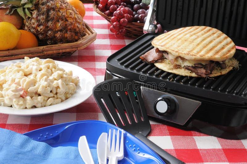 Panini de la carne de vaca de carne asada y del queso suizo fotografía de archivo libre de regalías