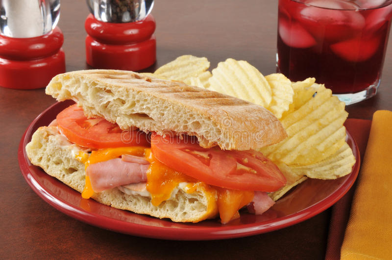 Panini del jamón y del queso foto de archivo