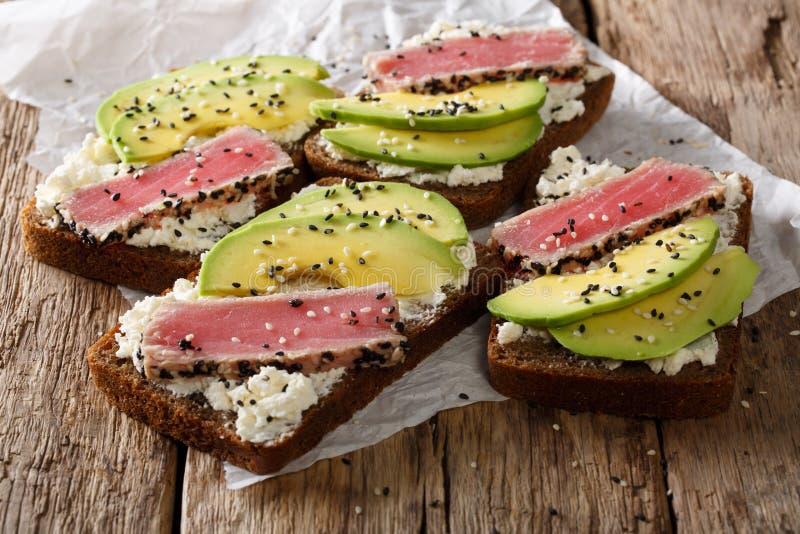 Panini deliziosi con il tonno, il sesamo, l'avocado e il cottag fritti fotografia stock libera da diritti