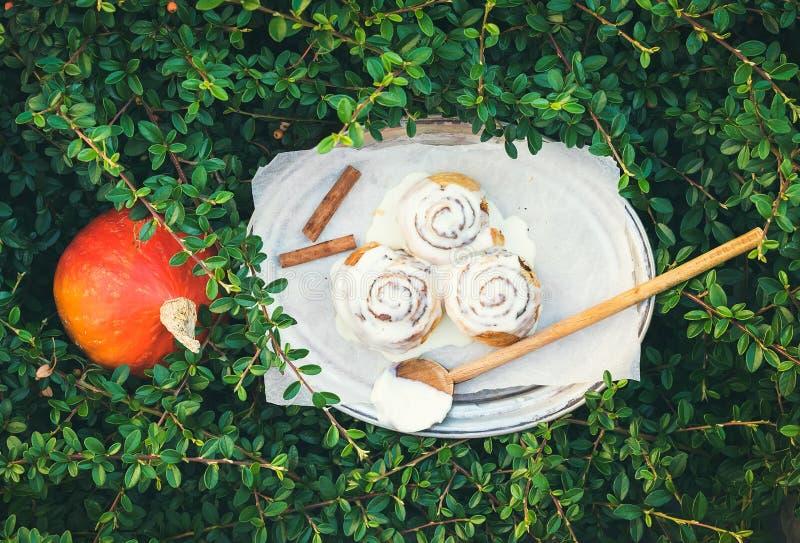 Panini della zucca della cannella con la glassa cremosa del formaggio e l'unità di elaborazione matura del giro immagini stock