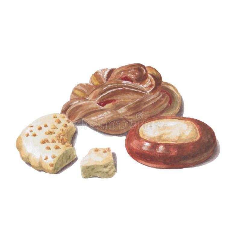 Panini dolci dello zucchero con inceppamento, torta di formaggio ed i pezzi di biscotti del dado isolati su fondo bianco illustrazione vettoriale