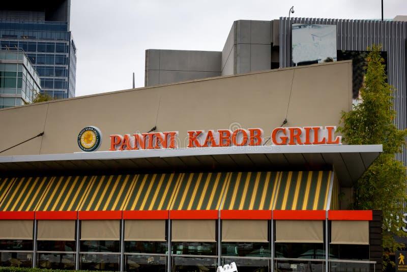 Panini-Kebab-Grillrestaurantzeichen stockfotos