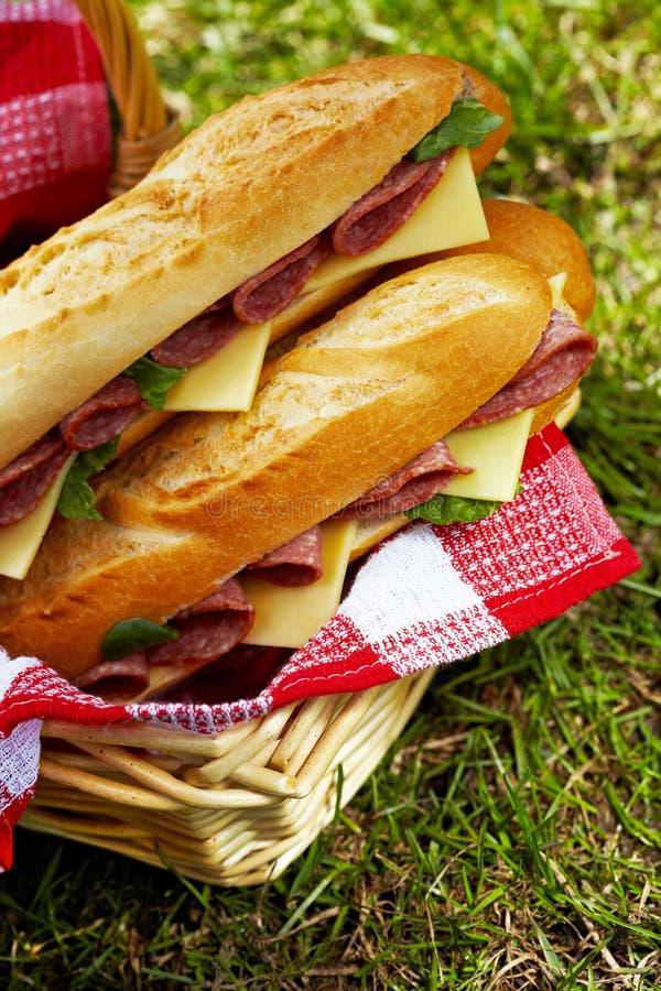Panini lunghi delle baguette con salame e formaggio immagine stock libera da diritti