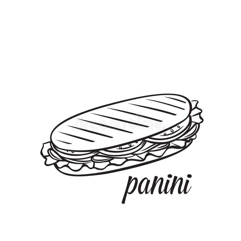 Panini ou sandwich illustration stock