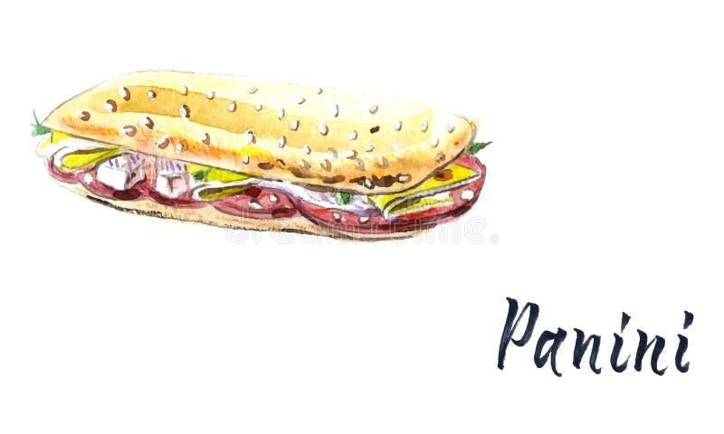 Panini piec na grillu kanapkę, akwareli wektorowa ilustracja z kaligrafią royalty ilustracja