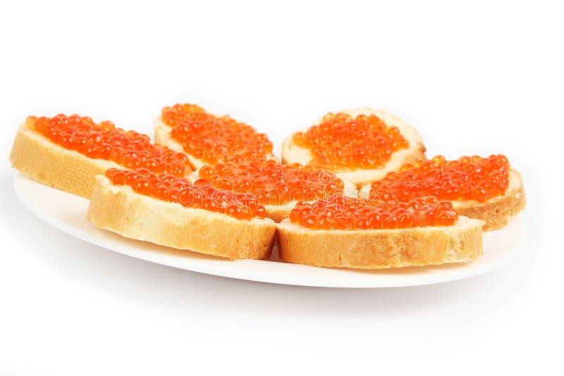 Panini rossi del caviale fotografia stock libera da diritti