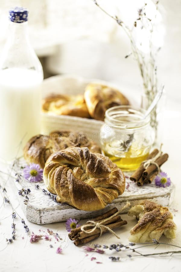 Panini svedesi di Kanelbullar, panini di cannella svedesi di Kanelbullar fotografia stock libera da diritti