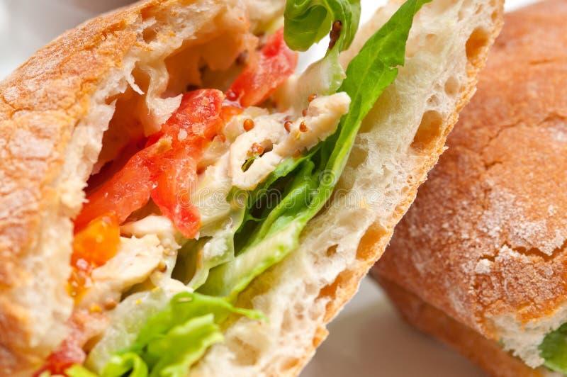 Paninisandwich van Ciabatta met kip en tomaat stock fotografie