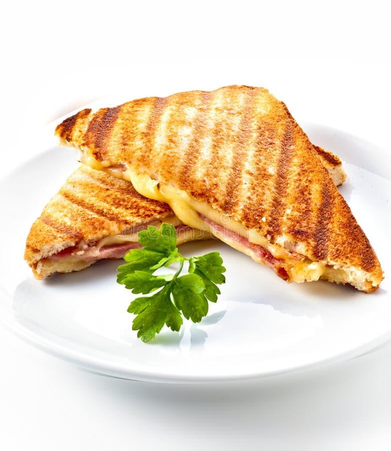 Paninisandwich van de ham en van de kaas royalty-vrije stock foto's