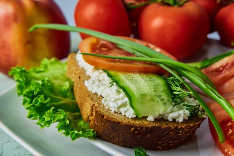 Panino con formaggio e gli ortaggi freschi affettati decorati con i verdi piccanti fotografia stock