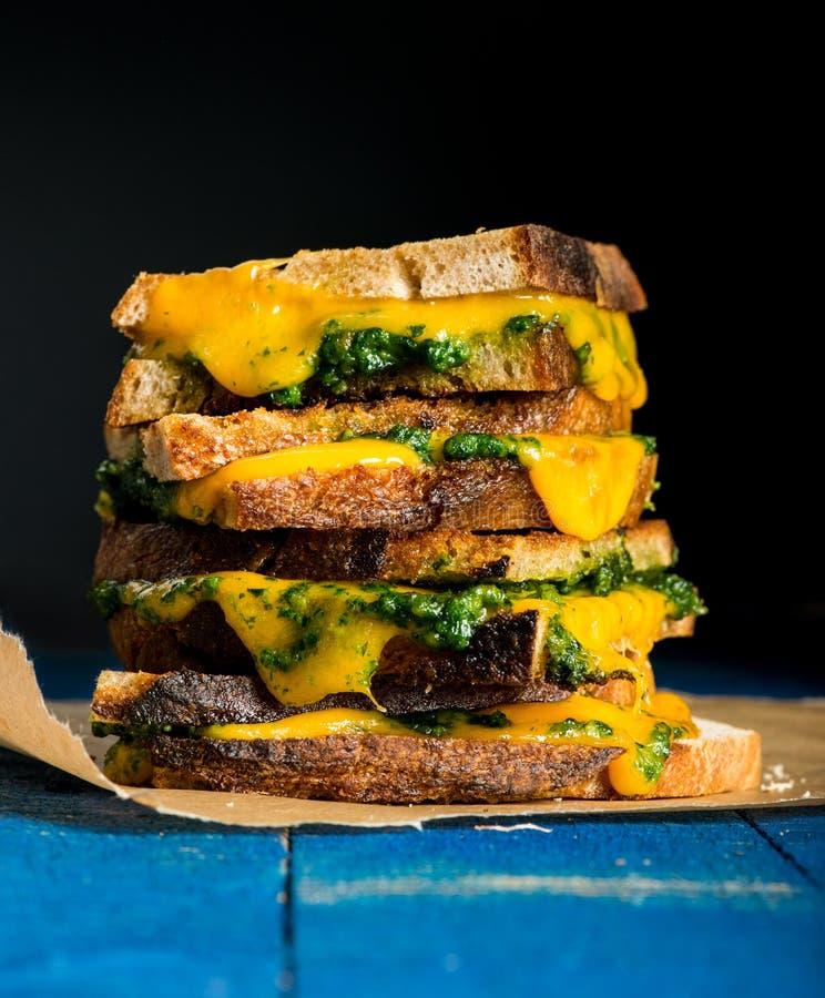 Panino con formaggio ed il porro fotografia stock libera da diritti