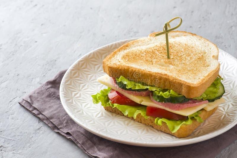 Panino con formaggio, il prosciutto e gli ortaggi freschi su un piatto fotografia stock libera da diritti