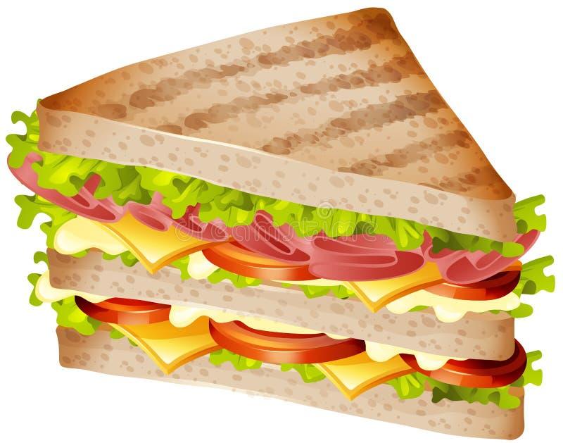 Panino con il prosciutto ed il formaggio illustrazione vettoriale