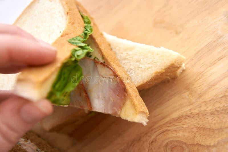 Panino con il prosciutto Insalata verde fotografia stock libera da diritti