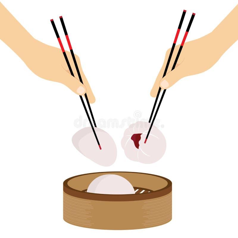 Panino cotto a vapore alimento cinese dei bastoncini della mano illustrazione di stock
