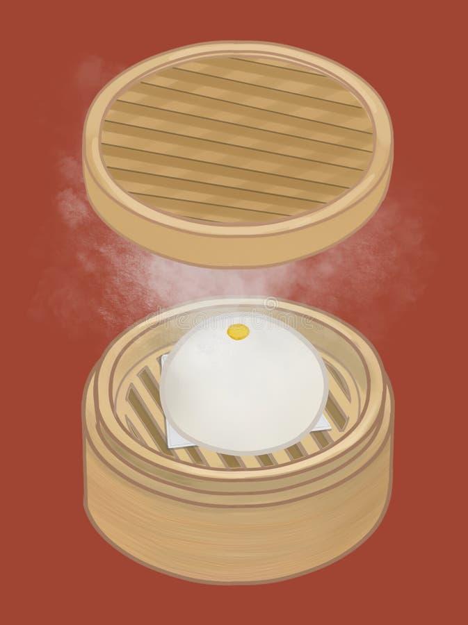 Panino cotto a vapore cinese in un'illustrazione del canestro illustrazione di stock
