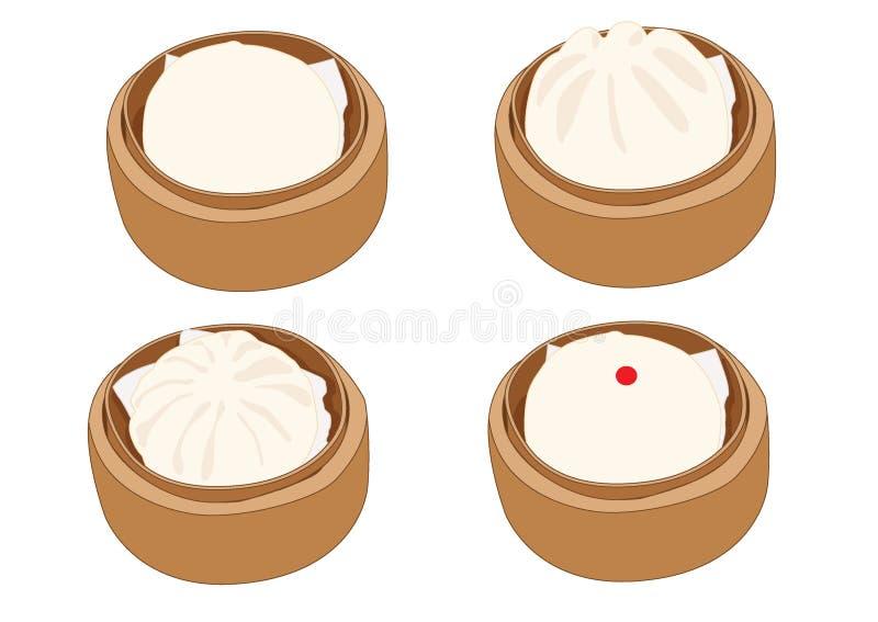 Panino cotto a vapore della roba, dim sum in vapore di bamb? e cucina cinese su fondo bianco royalty illustrazione gratis