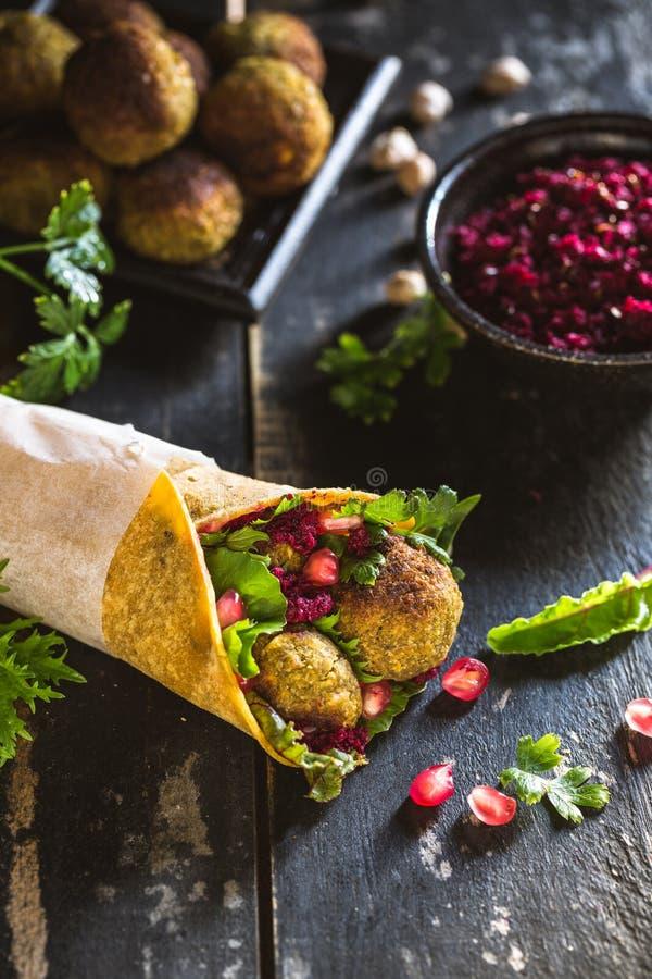 Panino dei Falafels del vegano fotografia stock
