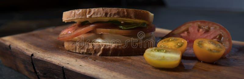 Panino del pomodoro nel softlight panoramico sul tagliere di legno immagini stock libere da diritti