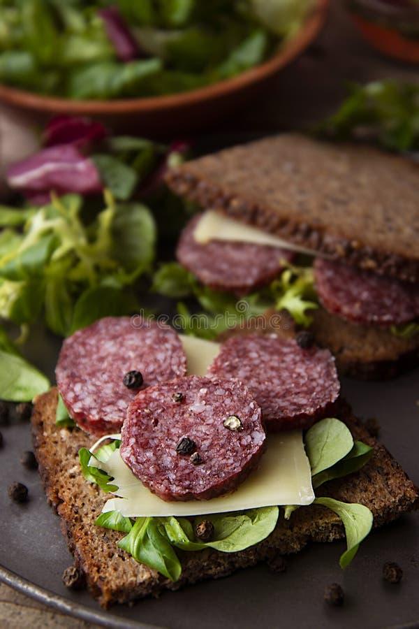 Panino del salame Panino aperto delle fette del salame sull'intero pane del grano con le foglie verdi e le spezie immagine stock libera da diritti