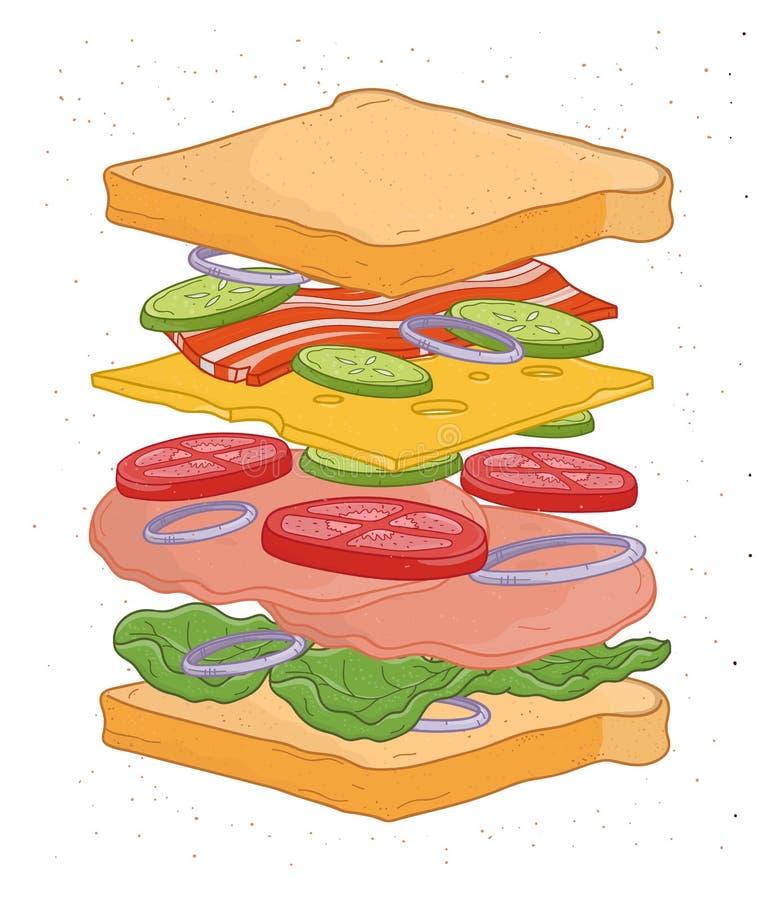 Panino delizioso con gli strati o ingredienti isolati su fondo bianco - impani le fette, le verdure, foglie dell'insalata illustrazione vettoriale