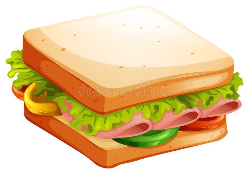 Panino della verdura e del prosciutto illustrazione vettoriale