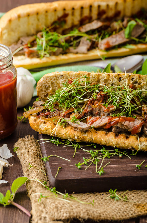 Panino di bistecca immagine stock