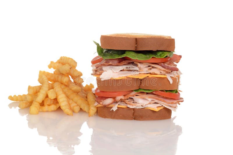 Panino di club del pollo con le patate fritte immagine stock libera da diritti