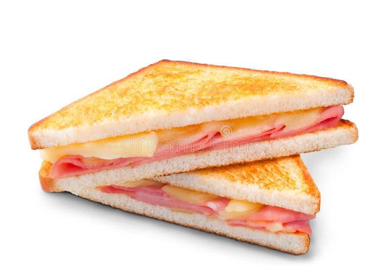 Panino di panini del formaggio e del prosciutto immagini stock