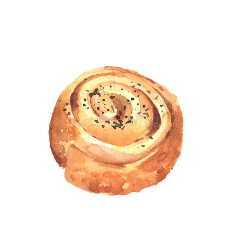 Panino dolce con i semi di papavero immagini stock libere da diritti
