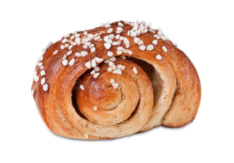 Panino dolce svedese con lo zucchero della perla fotografia stock