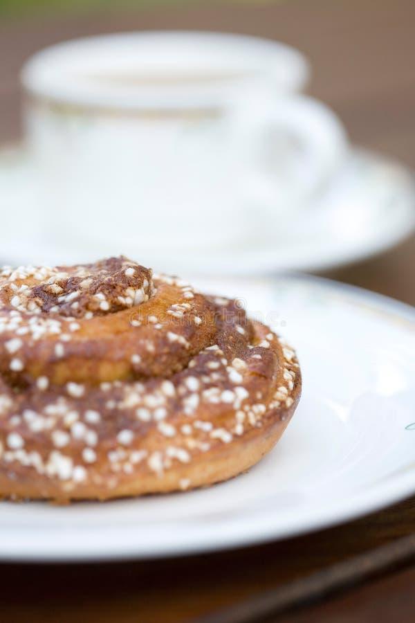 Panino e caffè della pasticceria. fotografia stock