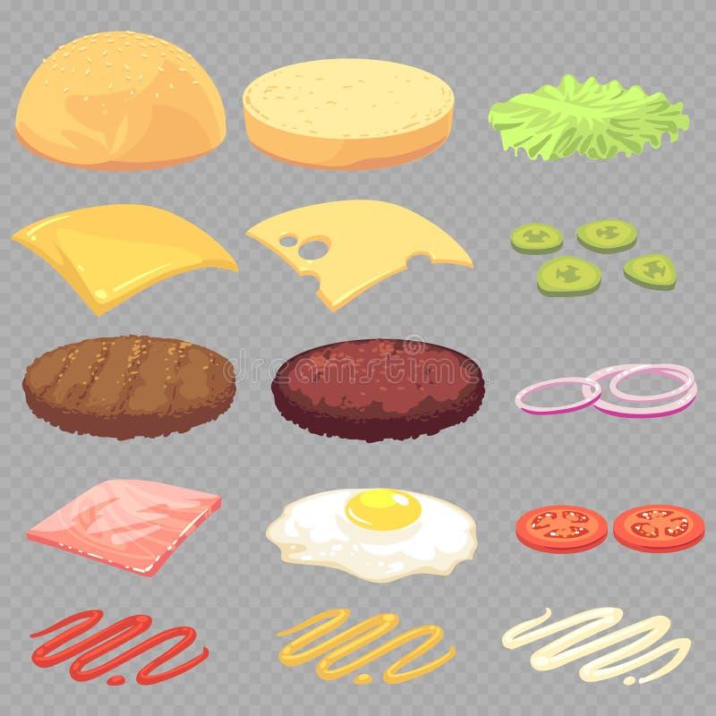 Panino, hamburger, insieme di vettore del fumetto degli ingredienti alimentari del cheeseburger isolato su fondo trasparente illustrazione vettoriale