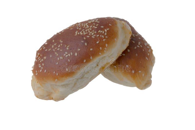 _panino, hamburger, isolare, bianco, sesamo, panino, hamburger, pane, fondo, due, grano, panino, alimento, fresco, saporito, nutr immagine stock libera da diritti