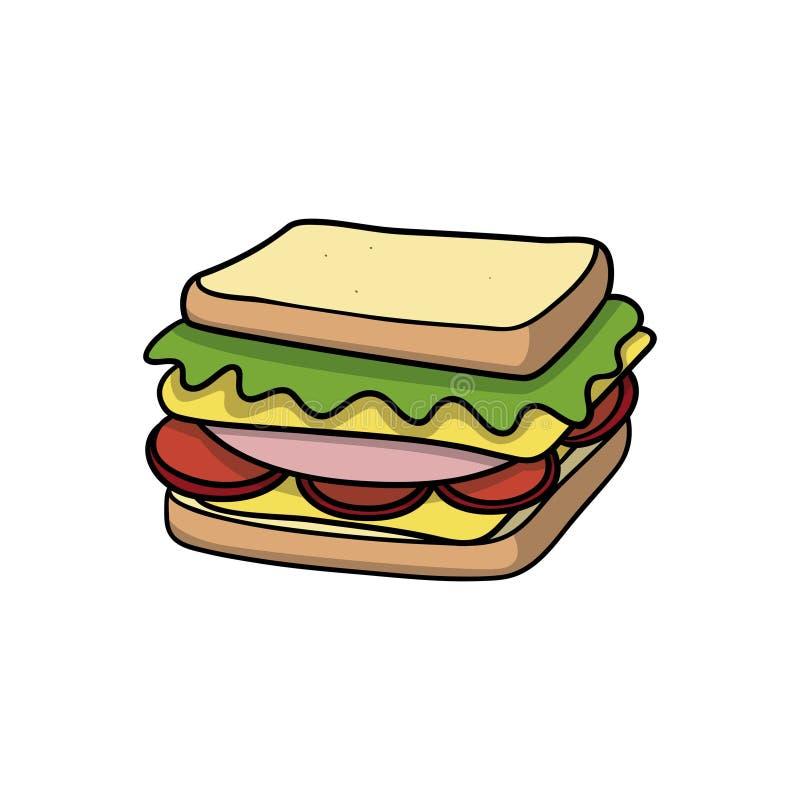 Panino Icona dell'alimento Illustrazione di vettore del fumetto di scarabocchio fotografia stock