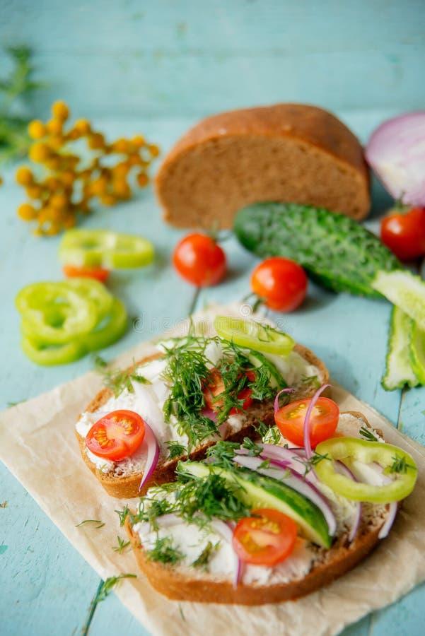 Panino sano con formaggio, ravanello del giardino - cibo sano fotografie stock libere da diritti
