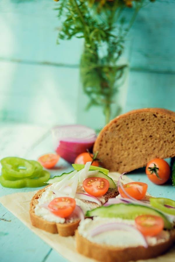 Panino sano con formaggio, ravanello del giardino - cibo sano fotografia stock libera da diritti